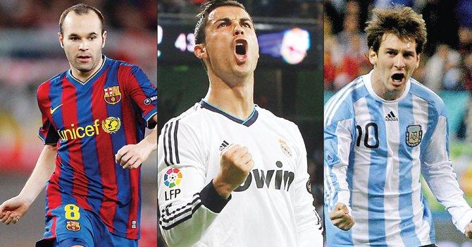 Iniesta, Ronaldo y Messi por el Balón de Oro