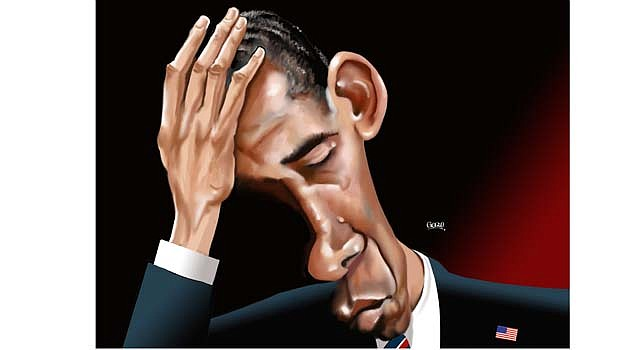 Obama pensando: caricatura de GOGUE