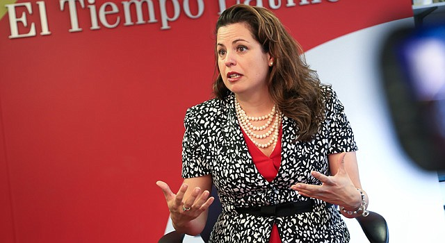 Natalia Olson Urtecho durante la entrevista con El Tiempo Latino