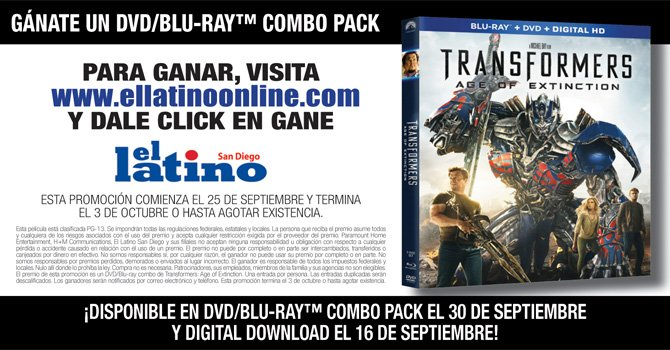 Participa y gana un DVD/BLURAY de la pelicula TRANSFORMERS AGE OF EXTINTION