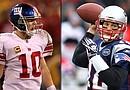 Eli Manning (Izqda.), el mariscal de campo de los Giants, y Tom Brady (Drcha.) serán los mariscales de campo que lideren a sus respectivos equipos en el Superbowl a jugarse el 5 de febrero