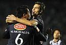 Jugadores de Monterrey festejan una anotación ante Pumas, durante el partido de ida de la semifinal de la Liga de Campeones de la CONCACAF celebrado en el estadio Tecnológico de Monterrey (México)