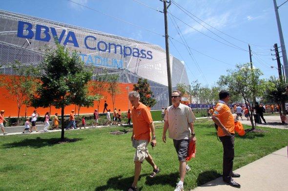 Vista del nuevo campo del Dynamo de Houston, patrocinado por BBVA Compass, previo al partido de la MLS disputado ante el D.C. United