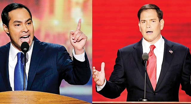 OPUESTOS. El alcalde de San Antonio, Julián Castro (izq.) brilló en la convención demócrata el 4. El senador por Florida, Marco Rubio, destacó en la republicana, el 30 de agosto.