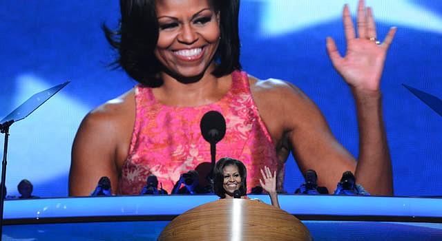 La primera dama Michelle Obama, habla el martes 4 de septiembre ante la convención demócrata.