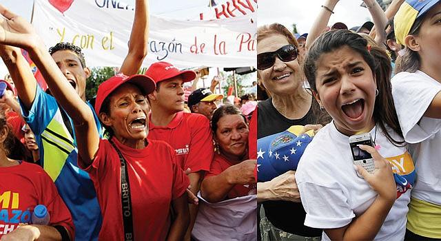 CHAVISTAS. Seguidores del presidente Hugo Chávez. CAPRILISTAS. Seguidores del opositor Henrique Capriles.