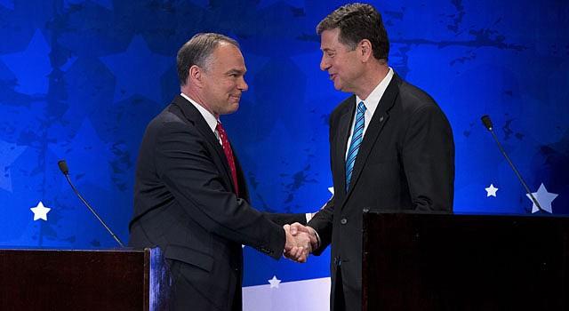 El demócrata Tim Kaine (izq.) y el republicano George Allen se enfrentan por un escaño en el Senado por Virginia.