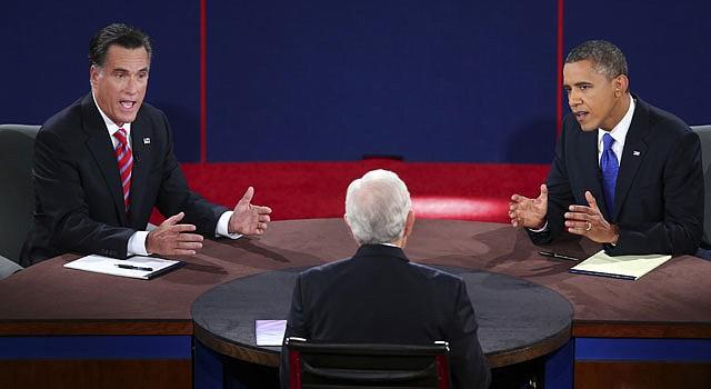 DEBATE. Mitt Romney, el moderador Bob Shieffer, y el presidente Barack Obama en el último debate realizado el lunes 22 en Boca Ratón, Florida.