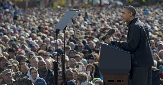 El presidente Barack Obama el domingo 4 de noviembre en Concord, New Hampshire.
