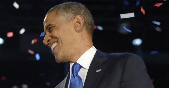 Obama al dar su discurso de aceptación de la reelección, el miércoles 7, en Chicago.