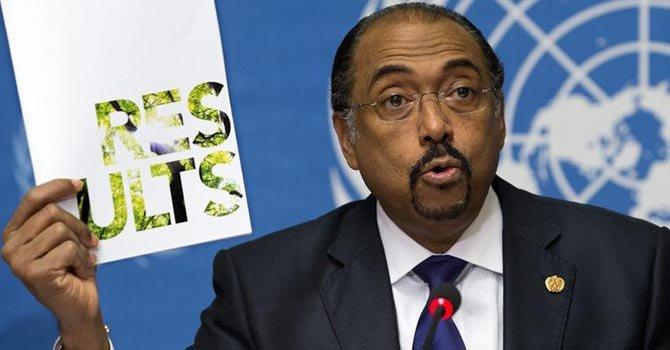 Michel Sidibé, director de ONUSIDA, presenta el informe anual en Ginebra, Suiza, el martes 20 de noviembre.