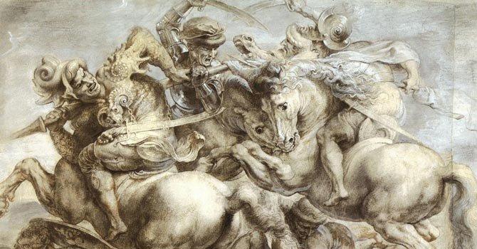 La pintura de Rubens, que se exhibe en el Museo del Louvre, en París, representa una imagen de la batalla final.
