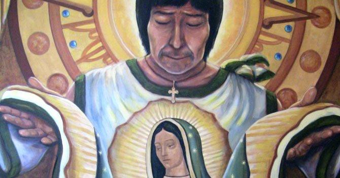 Artistas hispanos de Los Ángeles reflejan en sus obras las apariciones de la Guadalupana a San Juan Diego.