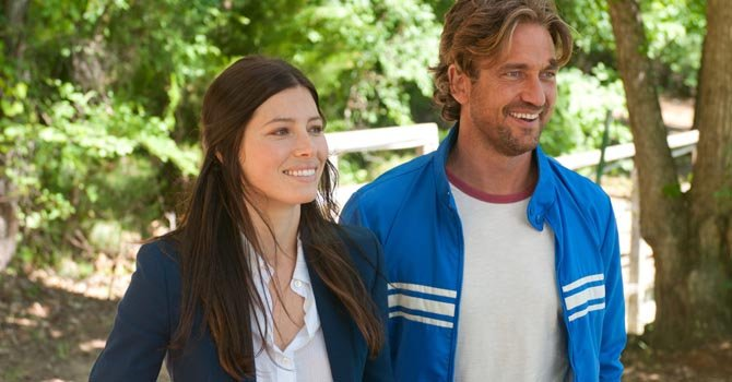 "Jessica Biel y Gerard Butler en el drama romántico ""Playing for Keeps""."