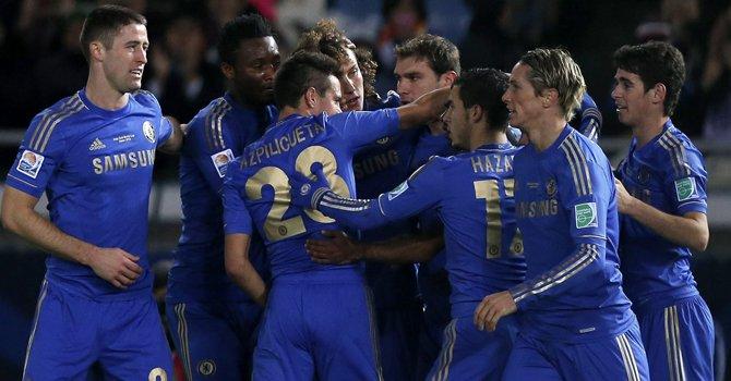 Los jugadores del Chelsea celebran el gol de Juan Mata durante la semifinal del Mundial de Clubes ante el Monterrey mexicano, el jueves 13.