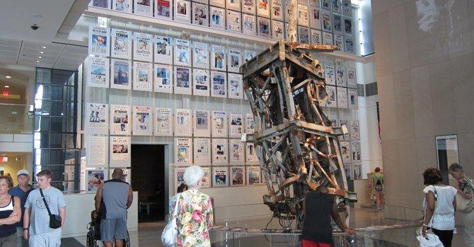 La sala del 11 de Septiembre de 2001 en el Newseum de Washington, DC.