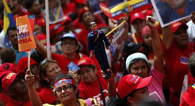 Seguidores del presidente venezolano Hugo Chávez se congregaron el 10 de enero en Caracas.