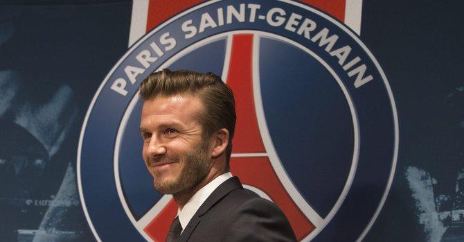 El inglés David Beckham durante su presentación como nuevo jugador del Paris Saint Germain, el 31 de enero en París, Francia.