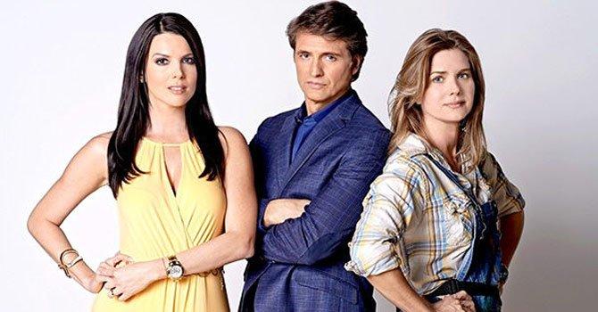 "De izd. a der. Maritza Rodriguez, Juan Soler y Sonya Smith, que participan en la telenovela ""Marido en alquiler""."
