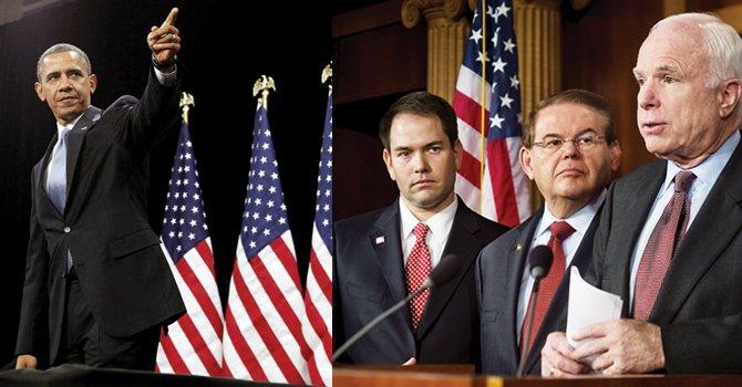 Barack Obama y tres de los ocho senadores que anunciaron los principios de un plan migratorio, de izq a der. Marco Rubio (R), Bob Menéndez (D) y John McCain (R).
