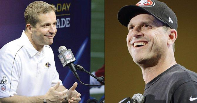 John Harbaugh (izq.), técnico de los Ravens de Baltimore y Jim Harbaugh, entrenador de los 49ers de San Francisco, son los dos primeros estrategas hermanos que se enfrentan en un Super Bowl en la historia de la NFL.