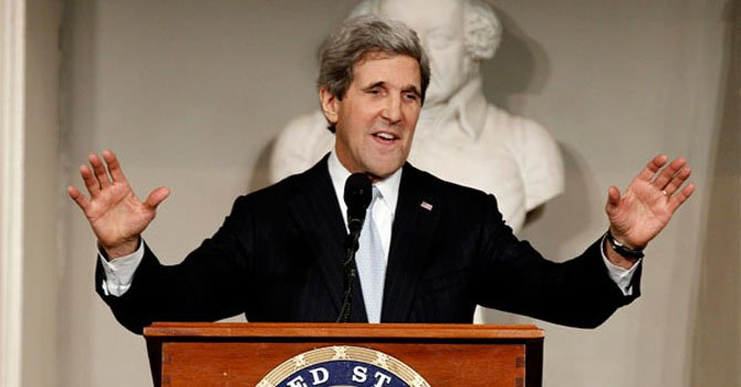 El secretario de Estado John Kerry en una conferencia en Boston el jueves 31 de enero.