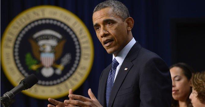 El presidente Barack Obama, pronuncia un discurso  en la Casa Blanca.