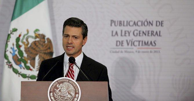 El presidente Enrique Peña Nieto durante la entrega del informe de los Derechos Humanos el 7 de febrero.