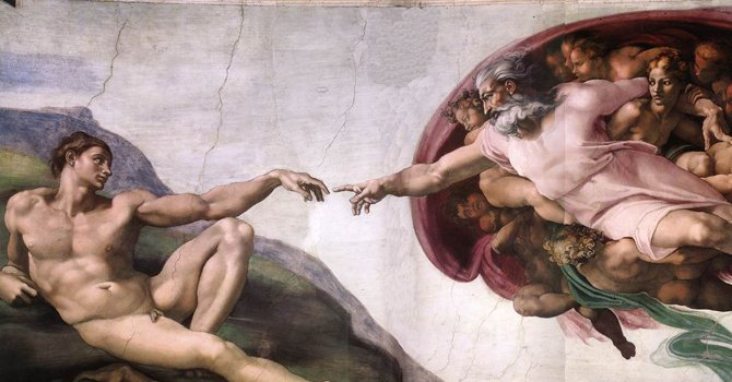 """Una de las obras más conocidas de Miguel Ángel es """"La Creación de Adán"""" que se encuentra en la bóveda de la Capilla Sixtina, en los Museos Vaticanos."""
