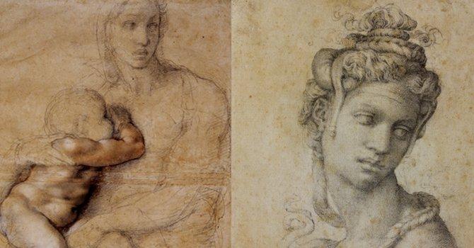La Madona y el Niño (izq) y Cleopatra son los dos dibujos que abren la muestra en el Museo Muscarelle, de Williamsburg, VA.