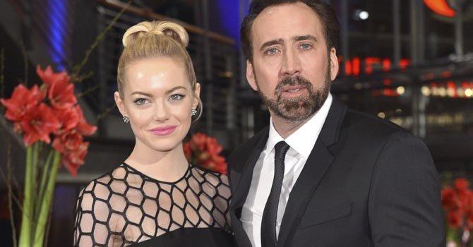 Emma Stone y Nicolas Cage en la alfombra roja del Festival Internacional de Cine de Berlín.