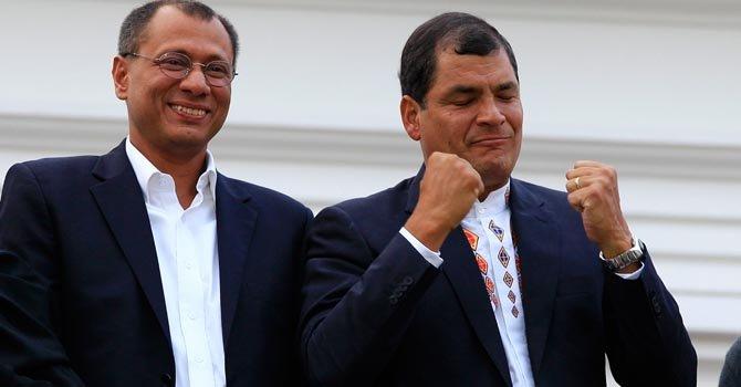 El presidente Rafael Correa y el vicepresidente Jorge Glass, en Quito, el domingo 17.