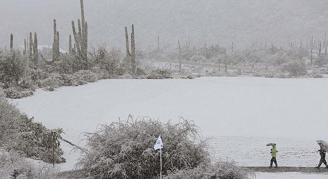 Una toma de Marana, Arizona en donde la nieve sorprendió a cientos de personas el miércoles 20 de febrero.