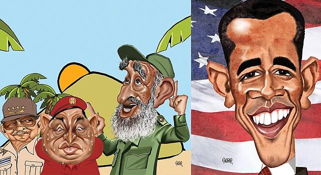 TRIO. Caricatura de Gogue de Raúl Castro, Hugo Chávez y Fidel. ROSTRO. De Barack Obama.
