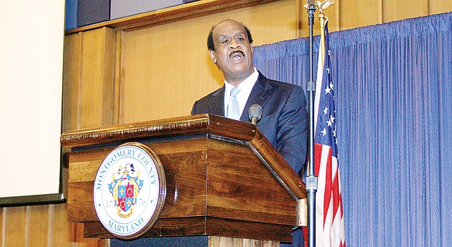 DISCURSO. El ejecutivo del condado de Montgomery, Isiah Legget, el miércoles 20 en el Estado del Condado.