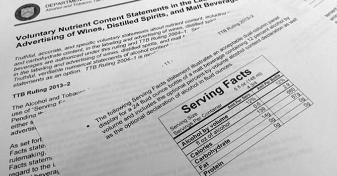 Bebidas alcohólicas tendrían información nutricional