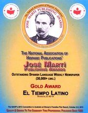 El Tiempo Latino premio José Martí de prensa hispana en EE.UU.
