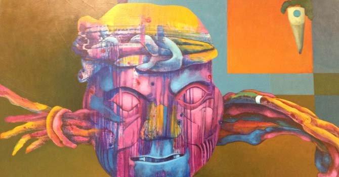 Detalle de una obra del artista hondureño, Leonel Flores.