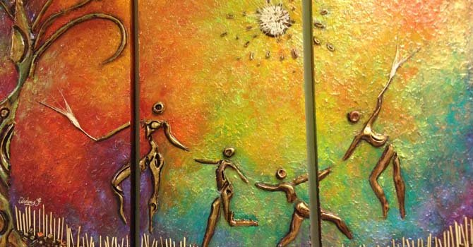 """Detalle de una obra de la artista ecuatoriana Ximena Cárdenas, como parte de la muestra """"Herencia"""" que se puede ver desde el 25 de octubre en la Universidad Ana G Mendez en Wheaton, Maryland."""