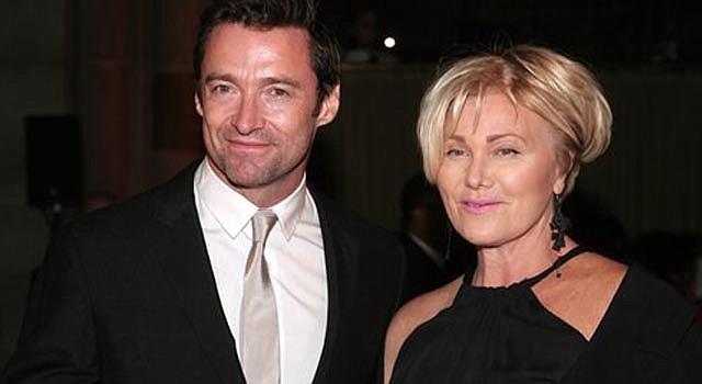 Actor Hugh Jackman con su esposa.