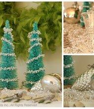 Mesa Azul Fresco y Verde para Navidad