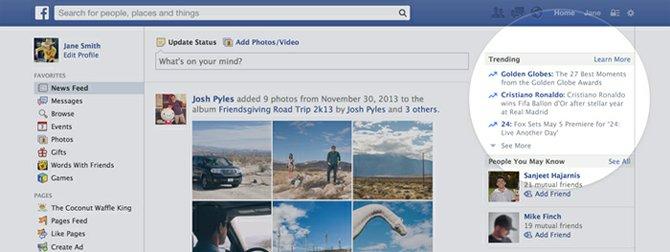 "Facebook agrega ahora ""tendencias/trending"" a tu muro"