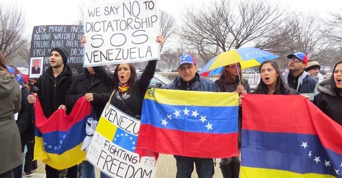 """Los manifestantes pidieron """"LIbertad"""" para Venezuela ante la OEA en DC"""