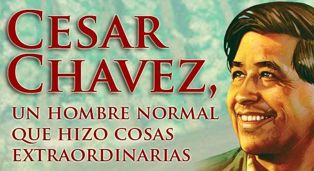 La imagen de Chávez pertenece a un dibujo de Robert Rodríguez que se utilizó en una estampilla de correos para conmemorar el décimo aniversario de la muerte del sindicalista, en 2003.