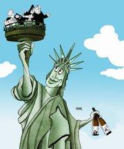 Caricatura de Gogue representando la llegada de los vinos de la bodega Albamar a Nueva York.