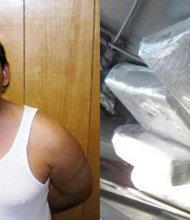 FOTO1: Facundo Salvador Valenzuela Cota, sentenciado por su agresión a un agente fronterizo. FOTO2: La droga que transportaba Santos López Pérez.