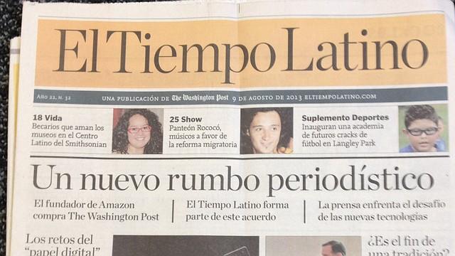 Primera Página de El Tiempo Latino. 9 de agosto de 2013