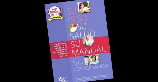 """Portada de manual de la campaña nacional """"Su peso importa"""", publicado por la Coalición de Acción Contra la Obesidad (OAC)."""