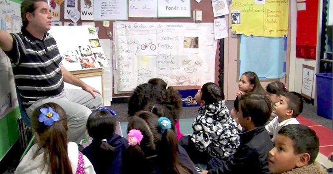 Estudiantes de Los Altos Elementary School aprenden inglés mediante el método de Inmersión Dual.(Foto-Cortesía:KPBS).