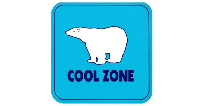 Los sitios Cool Zone (o Zonas Frescas) durante el verano alrededor del Condado de San Diego pueden ser identificados por éste anuncio azul con el oso polar blanco.